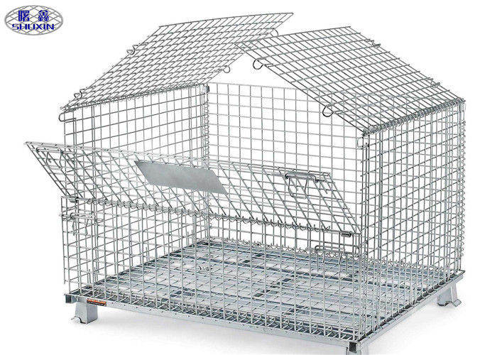 Transport Wire Mesh Pallet Cages , Welded Steel Mesh Storage Cages With Cover