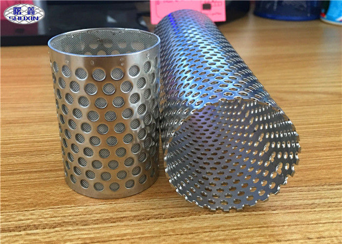 Welded Perforated Filter Tube , Smooth Flat Surface Perforated Metal Pipe